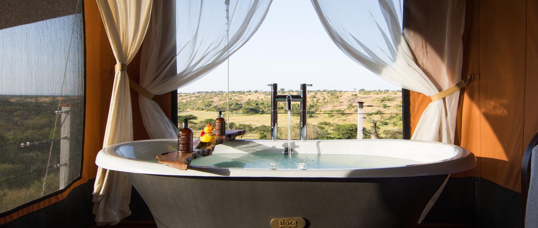 Luxury camps at the Mahali Mzuri Game Viewing Safari in Kenya
